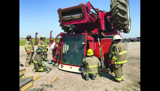 Training took place on this flipped combine during Plainville Regional Fire School June 1-2 in Plainville, KS.
