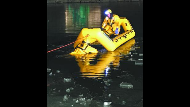 On Tuesday, Dec, 8 the Tea Fire Department did a training exercise on ice water rescue. The Department used special ice water rescue suits to help keep the rescuer warm and dry.